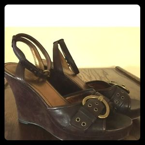 Coach Leather & Suede Brown Wedge Brass Buckle